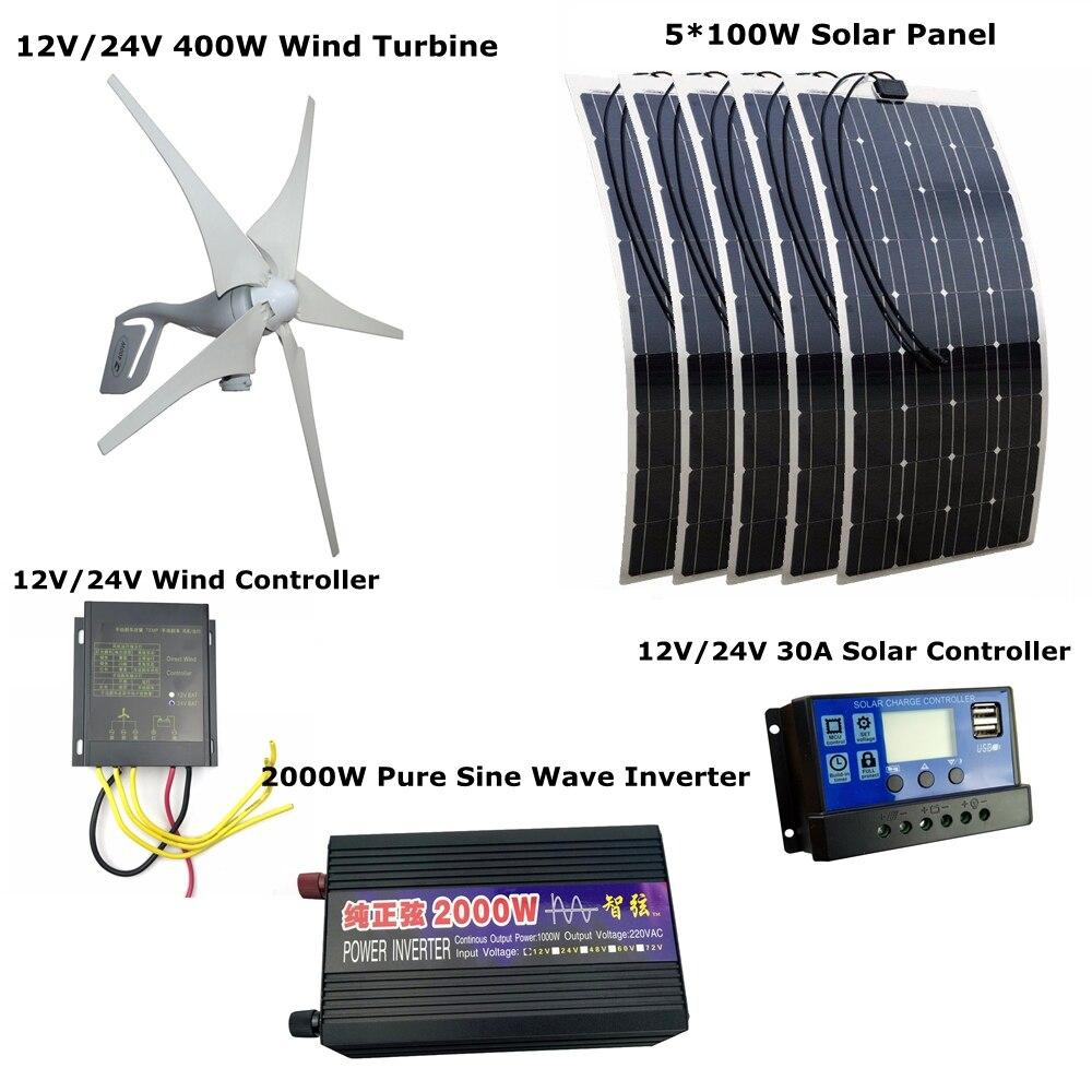 400 Вт 12 В/24 В ветровые турбины генератора + контроллер ветер + 5*100 Вт Панели солнечные + + 30A солнечный регулятор + 2000 Вт чистая синусоида инверто...
