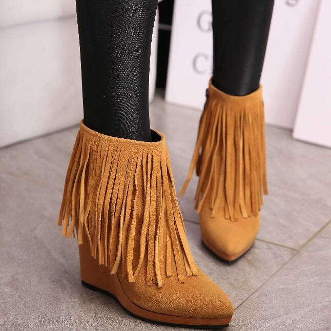 ФОТО Women Winter Genuine Leather Height Increase Elevator Pointed Toe Tassel Boots 2016 New Fashion Spring Autumn Ankle Boots