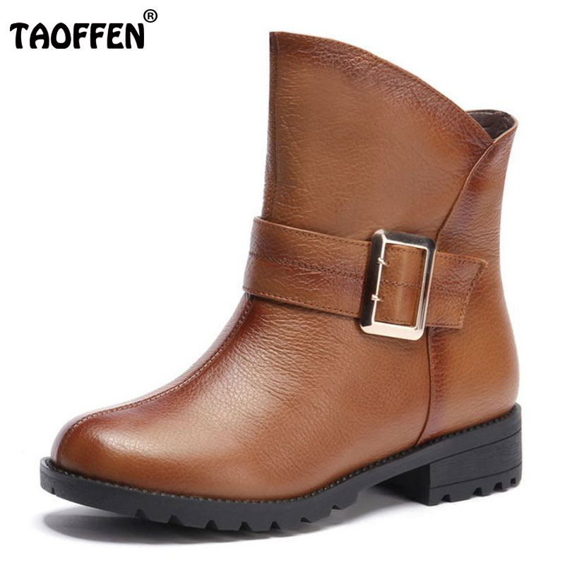 TAOFFEN women real genuine leather martin flat ankle boots woman autumn winter boot footwear shoes R7530 size 34-39 2017 fashion autumn genuine leather red women boots winter black flat martin solid ladies shoes woman boots zapatos mujer 1406n