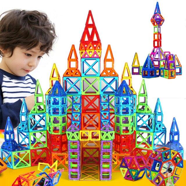 164 개/대 미니 자기 디자이너 건설 세트 모델 및 건물 장난감 플라스틱 자기 블록 교육 장난감 선물