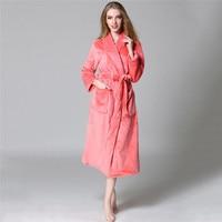 Women Warm Coral Fleece Long Bathrobe Dressing Gown Winter Kimono Flannel Bath Robe Nightgown Womens Sleepwear