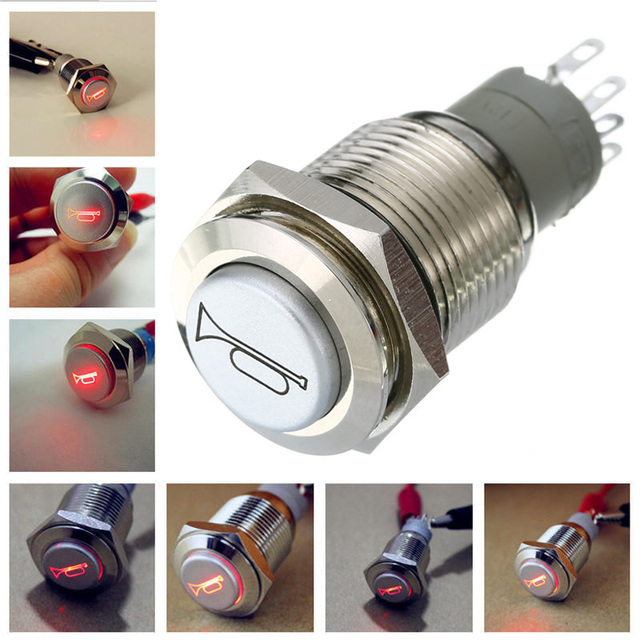 mayitr 1pcs 16mm car red led momentary push button 12v 3a replacemayitr 1pcs 16mm car red led momentary push button 12v 3a replace horn metal switch auto