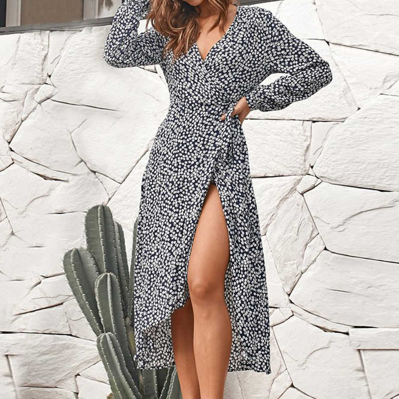Новое поступление 2019, платье с цветочным принтом, сексуальное вечернее платье с v-образным вырезом и длинными рукавами, Бандажное большие размеры, сарафан, Летние платья, повседневное, XL