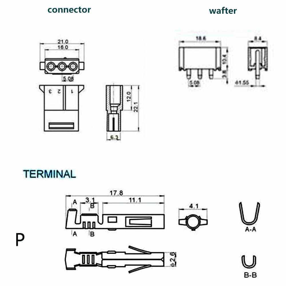 1 เซ็ต 5.08 มิลลิเมตร 3 สีขาวโปร่งใสไนลอนหญิงตรงขาเชื่อม + Terminal 8981 IDE ปลั๊กไฟสำหรับ 18-24AWG W