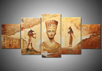 Handmade 5 Piece Contemporary Abstract Decorative Oil Painting On Canvas Wall Art Egyptian Picture For Living
