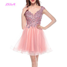 Pink Short Homecoming Dress Sexy V Neck Mini Party Prom Dresses Tulle Appliques Beaded vestido corto Backless Bridesmaid