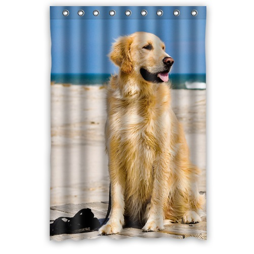 High Quality Modern Design Polyester Fabric Shower Curtain Print Cute Doggy Golden Retriever Bath Screen Size 48 X 72 In Curtains From Home