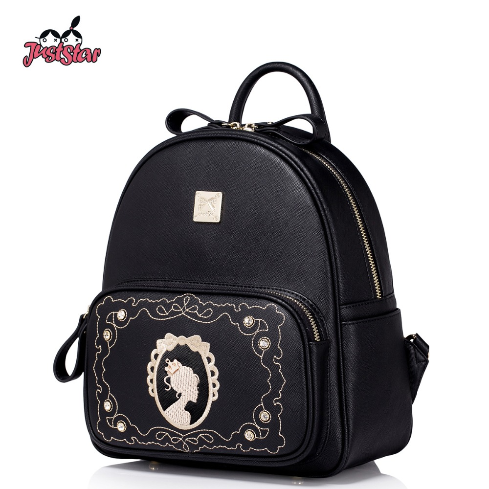 JUST STAR Women's Backpack Female Ladies PU Leather Travel Double Shoulder Bags Embroidery Young Girl Rivet School Bags JZ4936 zonerich thermal printer head b 58gk 58mk ecr800 1200 1000af 2000af pos machine compatible ftp 628mcl101 sii z245m printhead