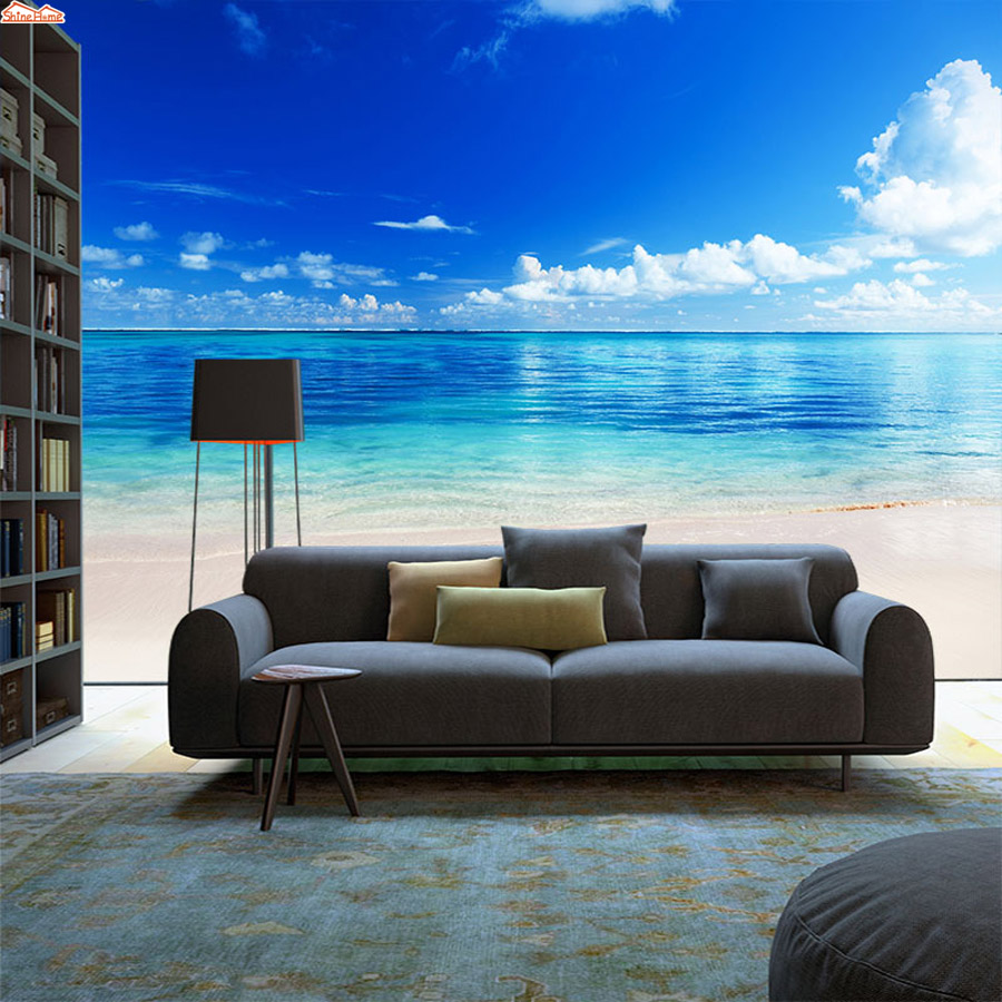 ShineHome-Modern 3d Photo Wallpaper Sea Skyline Coastal Beach 3d Wall Paper Mural Rolls Papel De Parede Para Quarto Papier Peint shinehome modern waterfall natural wallpaper roll 3d wallpapers for wall 3 d walls paper rolls papier peint papel de parede 3d