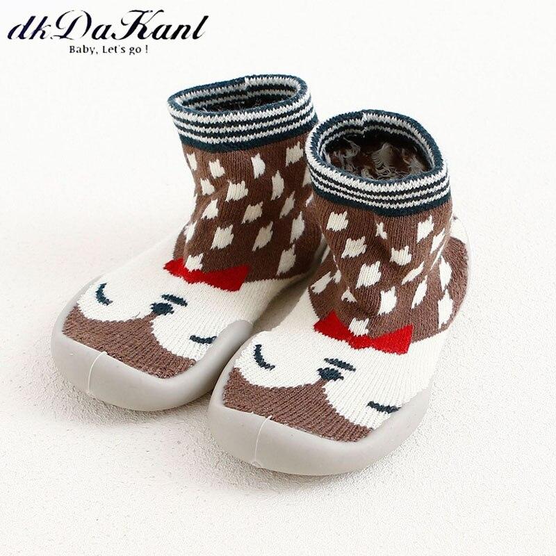 dkDaKanl 0-3 years old non slip baby socks Rubber sole elastic cotton prewalker toddler shoes for baby girls boys infant SO524C