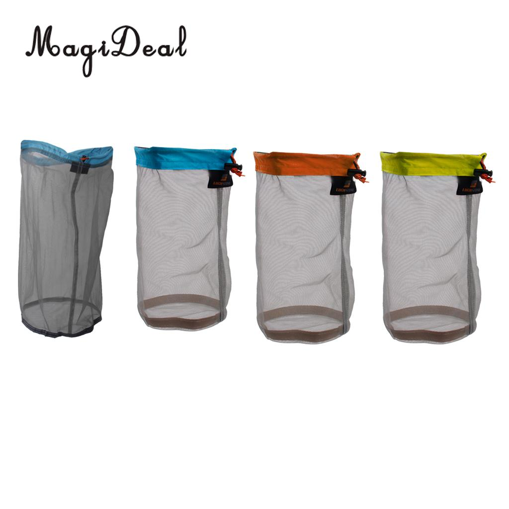 MagiDeal 4 Pieces Ultra Light Mesh Stuff Sack Storage Bag Pouch for Tavel Camping Compression Stuff Sack - 4 size