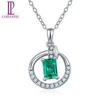 Lohaspie Solid 18K White Gold Natural Precious Emerald Diamond Nail Pendant Necklace For Women S Gemstone