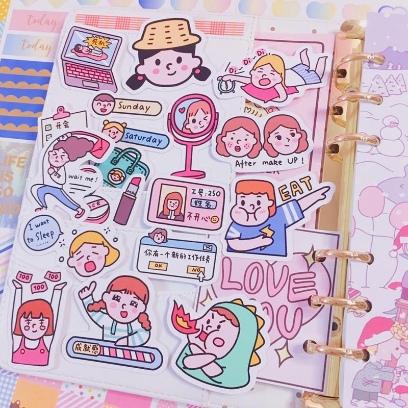 Купить с кэшбэком 22pcs / Packs Cute Cartoon Girl Daily Life Snack Sticker Mobile Phone Album Diary Handbook Decoration Sticker Scrapbooking