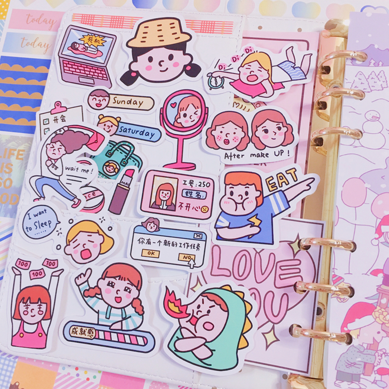 22pcs / Packs Cute Cartoon Girl Daily Life Snack Sticker Mobile Phone Album Diary Handbook Decoration Sticker Scrapbooking