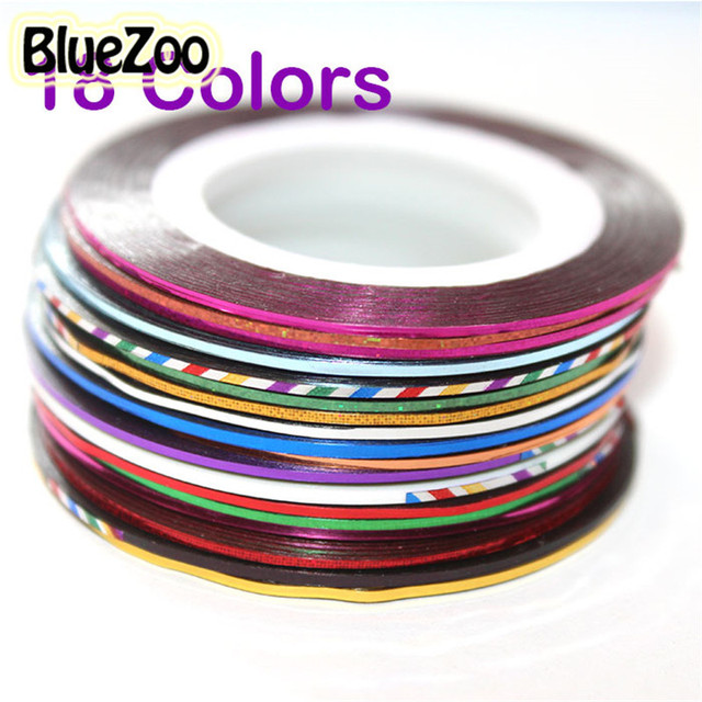 BlueZoo New 18pcs Multicolor Mixed Colors Rolls Striping Tape Line Decals Foil For On Nail Art Decoration Sticker DIY Nail Tips