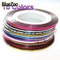 BlueZoo Nuevo 18 unids Multicolor Mezcló Los Colores de Rolls Trazado de Líneas de Cinta etiquetas de Papel de Aluminio Para El Clavo Decoración Del Arte Etiqueta Engomada Del Clavo de DIY consejos