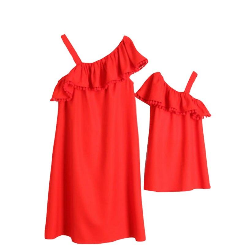 Et moi vêtements mère famille look correspondant tenues filles robes 2019 maman et fille vêtements ensemble Oblique épaule maman