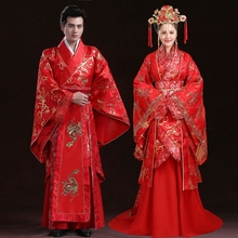 d5eae0b285 Chinese Style Ancient Wedding Clothing Antique Groom Garment Red Couple  Lovers Hanfu Wedding Costume With Long