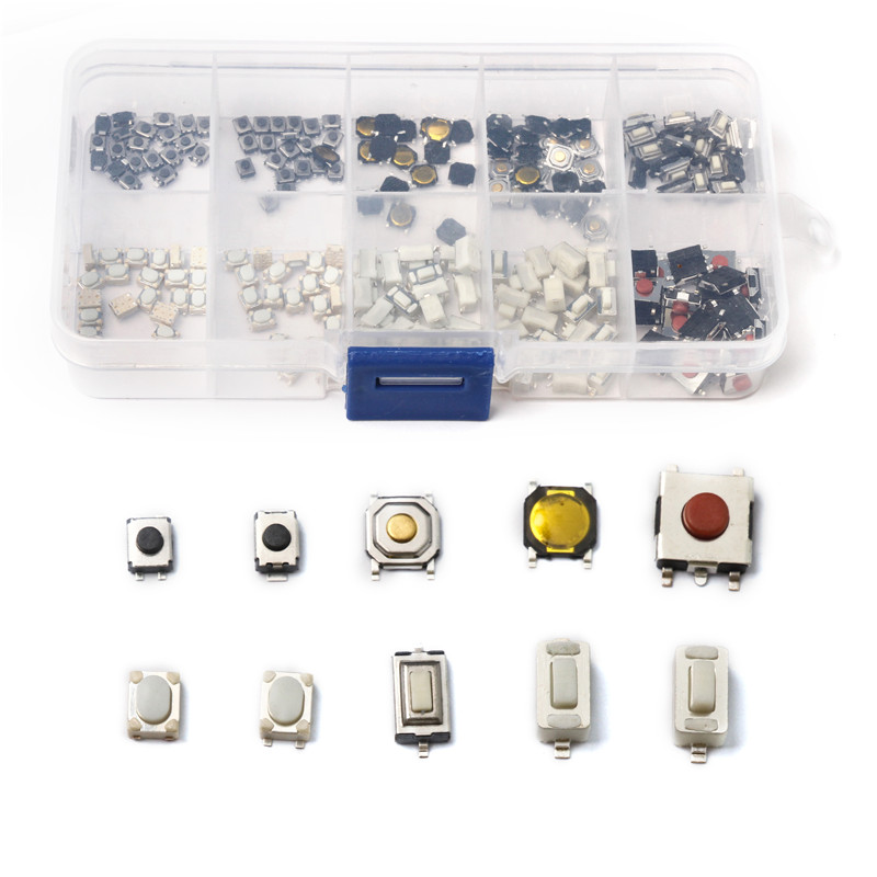 10 Models 3*4/3*6/4*4/6*6 Key Touch Tactile Push Button Key Component Car Remote Control Tablet Micro Switch Button 200PCS Kit