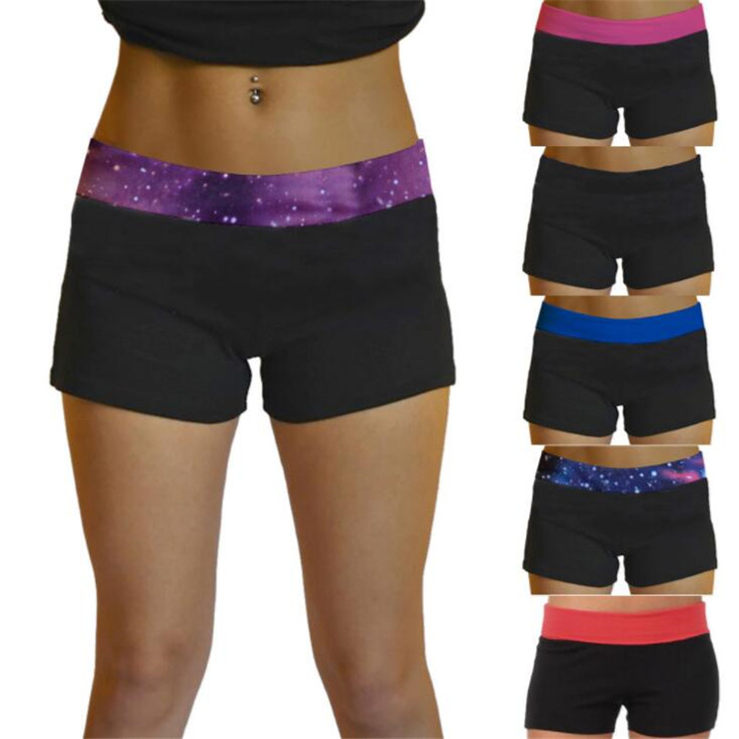 YGYEEG Women Summer Shorts Fashion Stretch Waist Casual Shorts New 2020 Patchwork Starry Sky Black Sexy Short Women'S Clothing