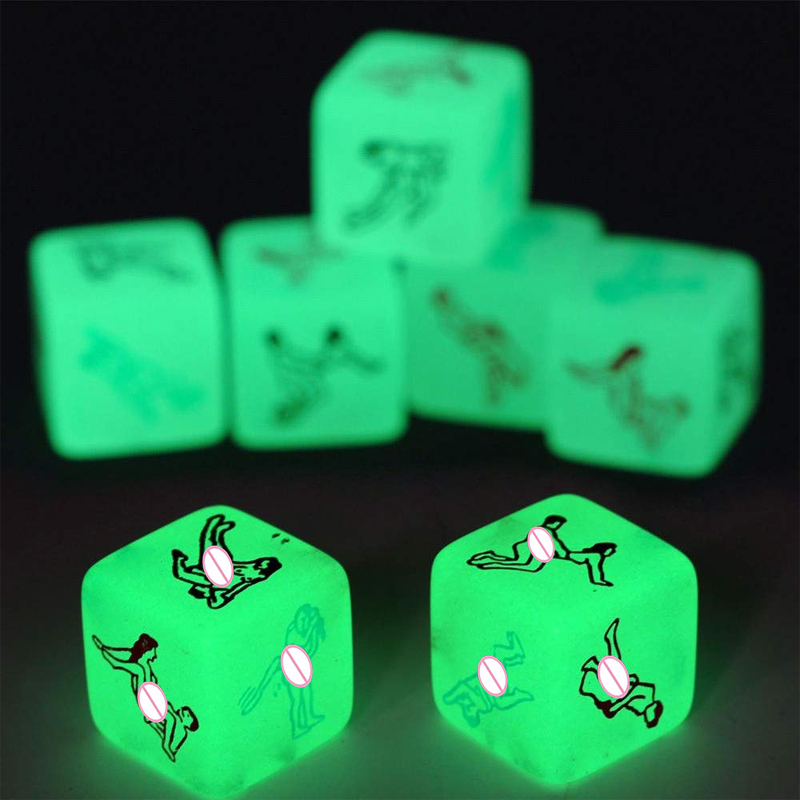 2Pcs 6 Side Erotic Luminous Dice Couples Flirting W/Posture Toys Love Posture Guide Night Lights Luminous Love Dice Sex Toy