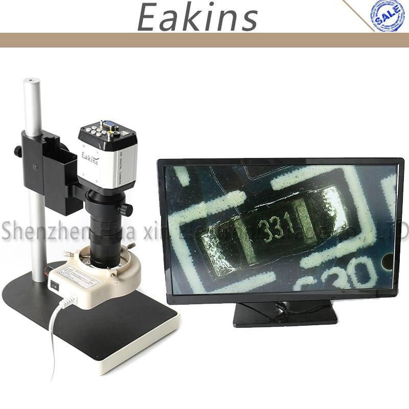 2.0MP HD VGA USB Microscope Camera for Industry Lab AV TV USB Output Video Recorder +100X C-mount Lens+56 LED Ring Light+Stand