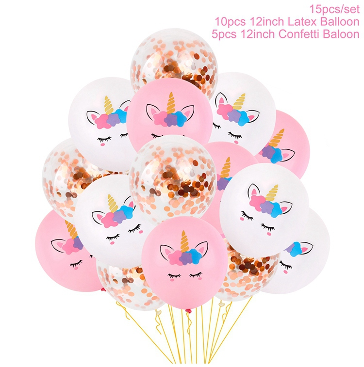 Dropwow QIFU Happy Birthday Balloons Unicorn Set