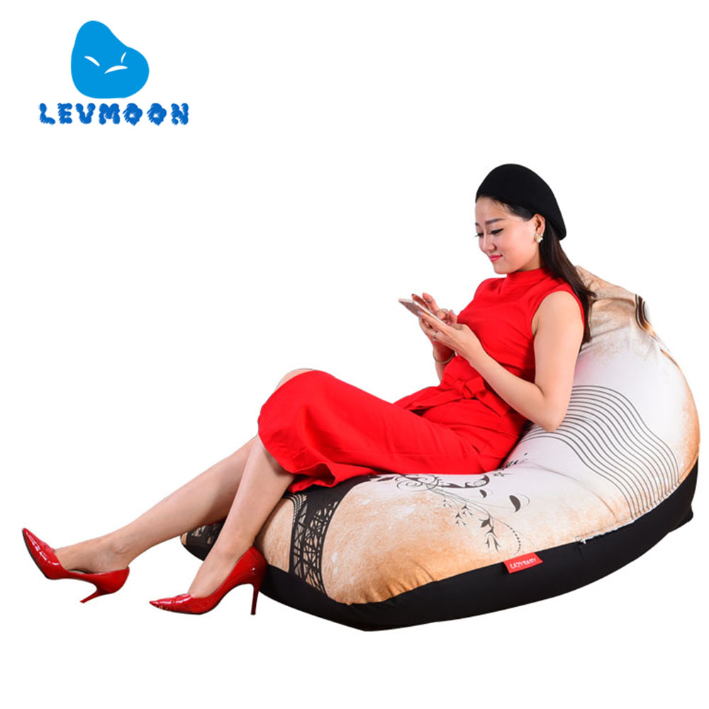 LEVMOON Beanbag Sofa Chair Eiffel Tower Seat Zac Comfort Bean Bag Bed Cover Without Filler Cotton Indoor Beanbags Lounge Chair