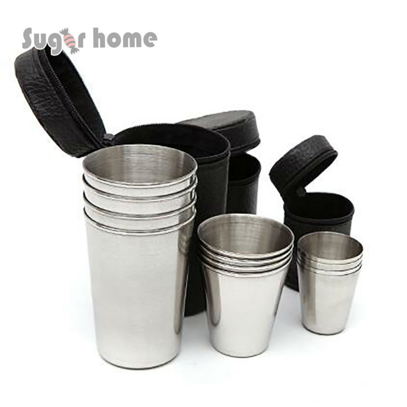 free bag 4pcs cups set outdoor folding portable travel 304