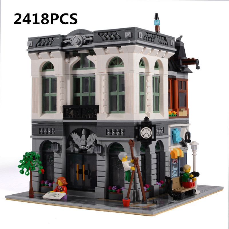 New LEPIN creator 15001 Brick Bank Model Building Kits Blocks Compatible With 10251 toys for children palace base technic new lepin 16009 1151pcs queen anne s revenge pirates of the caribbean building blocks set compatible legoed with 4195 children
