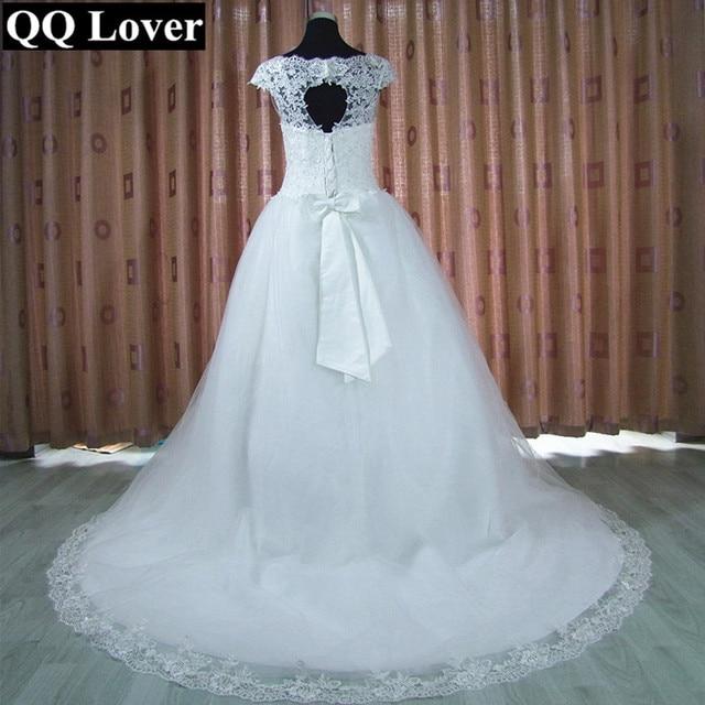 QQ Lover 2017 New Arrival Unique Back Cap Sleeve Lace Wedding Dress Appliques Vestido De