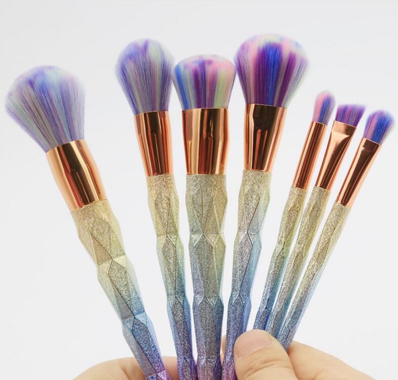 7Pcs Diamond Shape Makeup Brush Set Dazzle Glitter ...