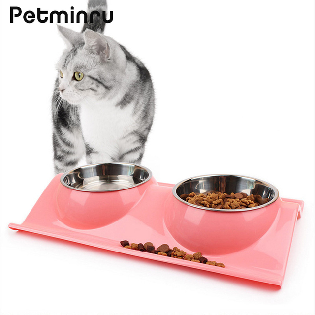 Petminru Stainless Steel Pet Cat Dog Bowl Plastic Double Water Food Storage Feeder Safety Environmental Protection Dog Feeders