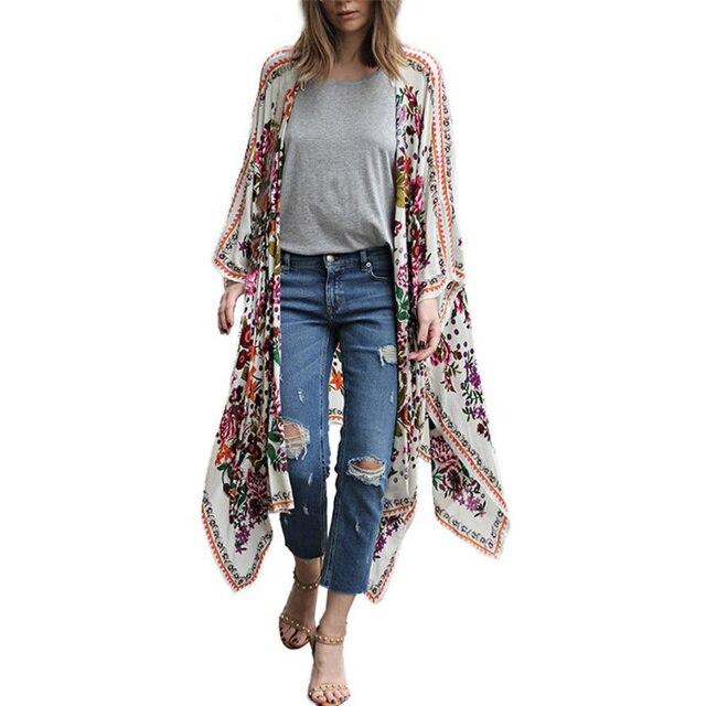 eb899891d3 Las mujeres ropa dama Floral Retro Hippie Boho Vintage Casual ...