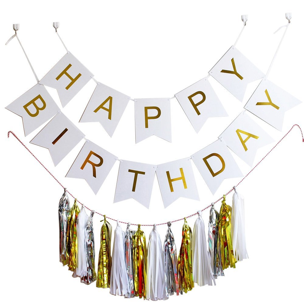 Happy Birthday Party Decorations Supplies Tissue Tassel Garland Paper Banner DIY Hanging Home Baby Shower Decor
