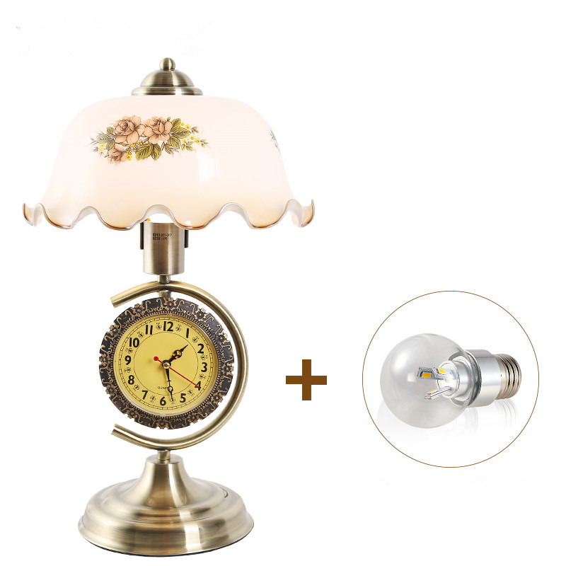 Led Lamps European Style Vintage Clock With Adjustable Light Decorative Table Lamp Led Bulb E27 For Living Room Home Decor Table Lamp Ample Supply And Prompt Delivery
