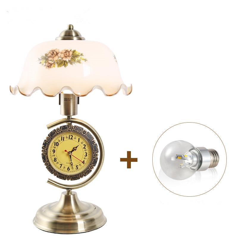 Здесь продается  European style Vintage Clock with adjustable light decorative table lamp LED Bulb E27  For Living Room Home Decor table lamp  Свет и освещение