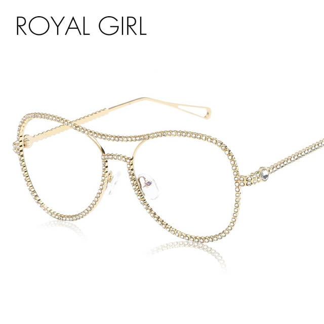 78c01c81128ce Online Shop ROYAL GIRL Large Frame Rhinestones Eyewear Frames Twin-Beams  Women Optical Eyeglasses Gold Glasses Frames SS046