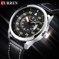 2016 New CURREN Quartz Watch Genuine Leather Strap Business Casual Round Dial Watches Waterproof Military Wristwatch relogio