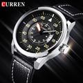 2016 Nova CURREN Relógio de Quartzo Pulseira de Couro Genuíno Business Casual Round Dial Relógios Militares À Prova D' Água Relógio de Pulso relogio