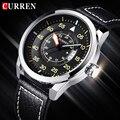2016 nueva curren reloj de cuarzo esfera redonda relojes de correa de cuero genuino casual de negocios a prueba de agua reloj militar relogio