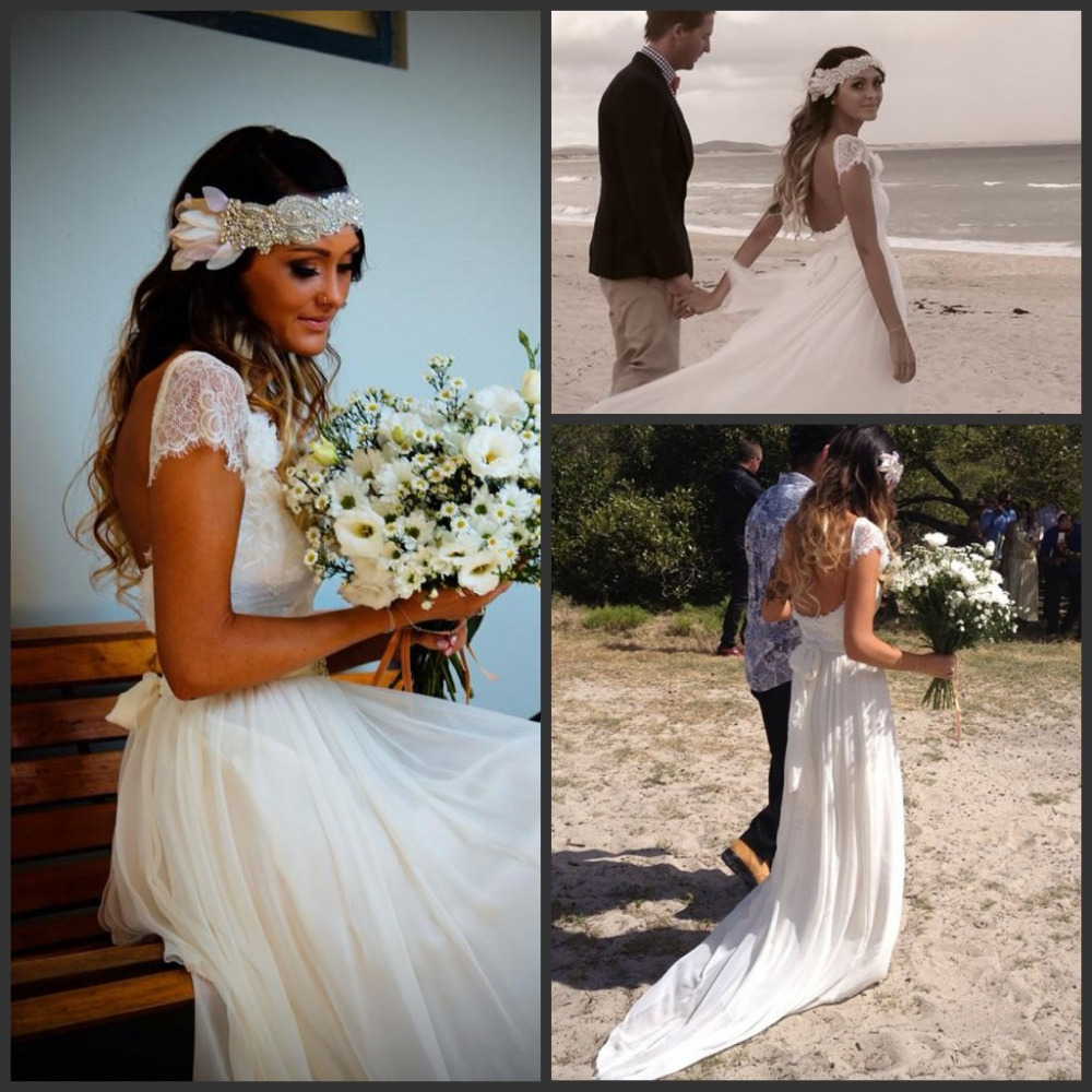 2015 Fashion Bohemian Style Beach Wedding Dresses Short Sleeves Court Train  Chiffon Boho Vintage Lace Wedding Gowns ZY059 8198c978699e