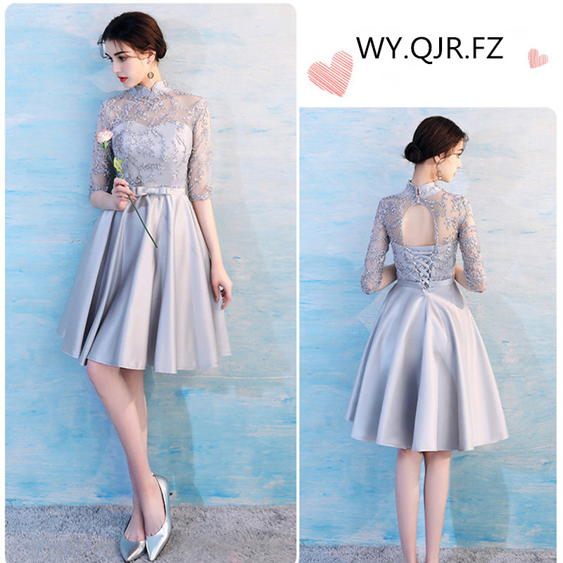KBS025G#stand Collar Grey Lace Up Bridesmaid Dresses Wedding Party Prom Dress 2019 Spring New Wholesale Cheap Bridal Clothing