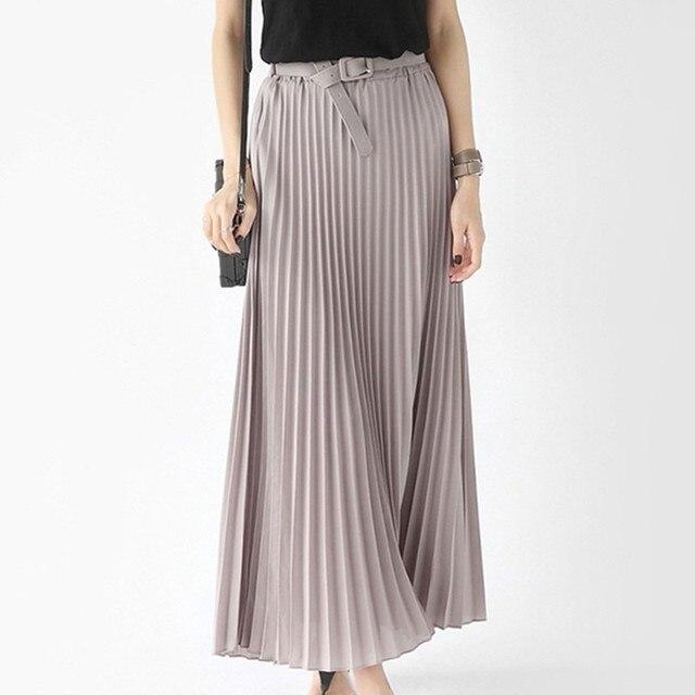 abaaaf06ea 2018 Summer Skirt New Elegant Bohemia Chiffon Pleated Elastic Waist Women  Floor Length Long Skirt Maxi Tulle Beach Skirt Belt