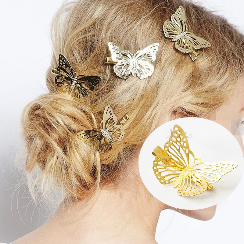Hairpin Butterfly Woodland Fairy Elegant Gold-Color Girls Women Fake for Clamp Claw-Alloy