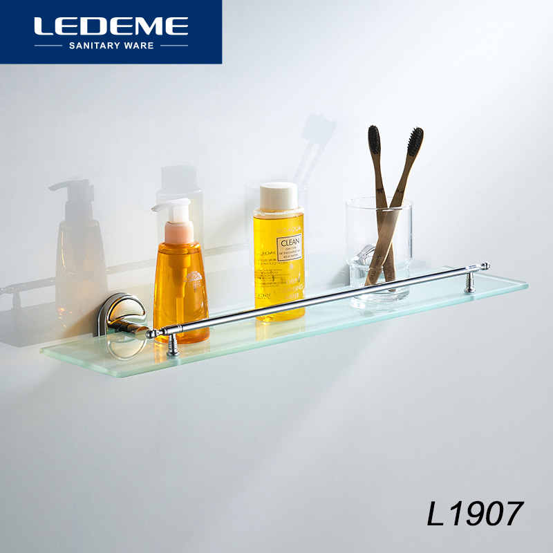 LEDEME Bathroom Shelves Kitchen Wall Shelf Material Glass Shower ...