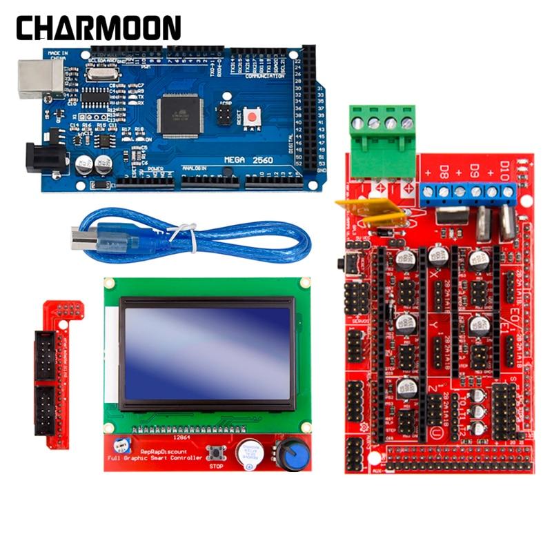 3D Printer Parts Excellent Mega 2560 R3 Mega2560 REV3 +RAMPS 1.4 Controller +RAMPS1.4 LCD 12864 LCD For Arduino Kit