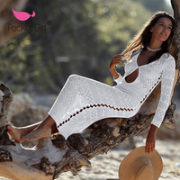 2019 Sexy Women Bikini Cover Up Lace Hollow Crochet Swimsuit Beach Dress Summer Ladies Cover Ups Bathing Suit BeachWear Ladies