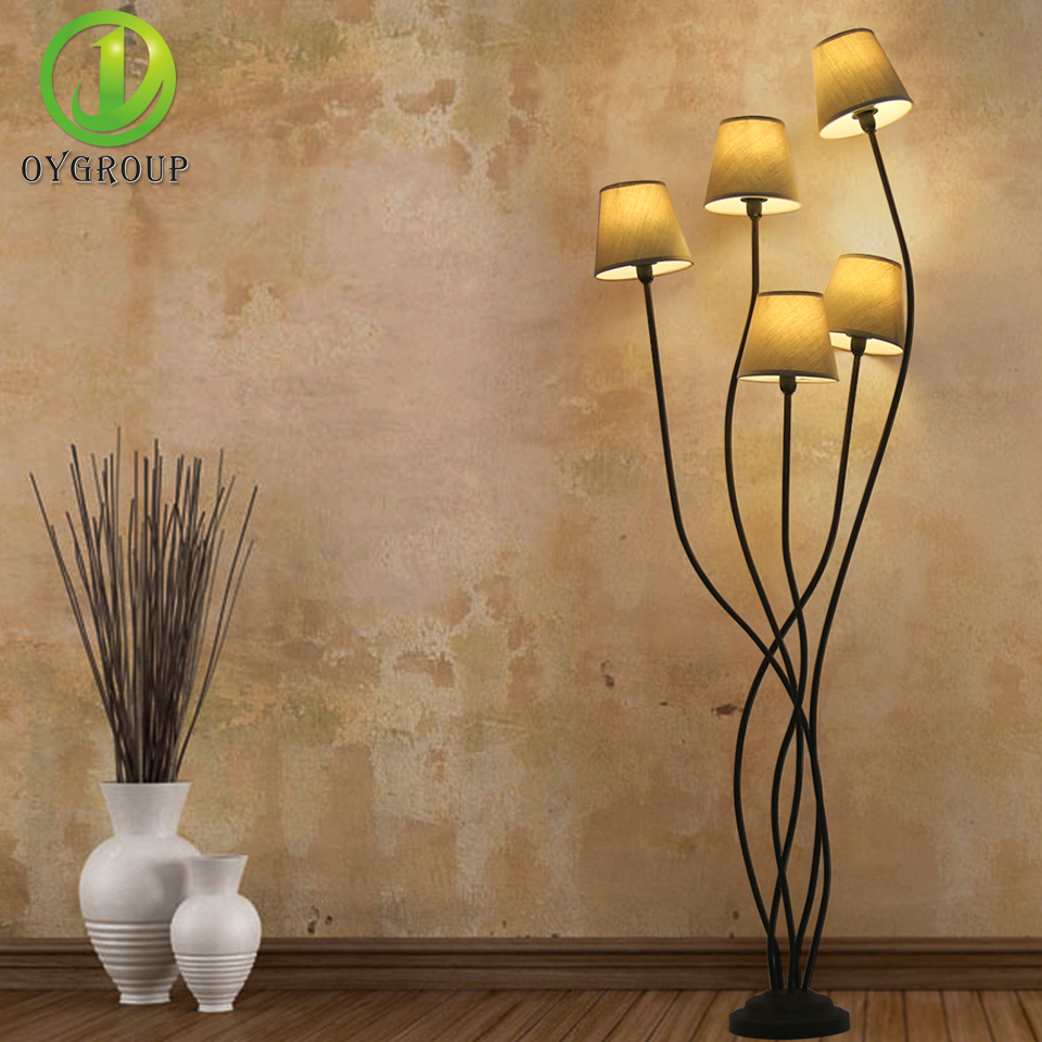 Oygroup 5 Heads Fashion Floor Lamp With Brown E14 Lampshade Elegant Branch Lampstand Floor Lighting For Home Hotel Bar Office Licht & Beleuchtung Stehlampen