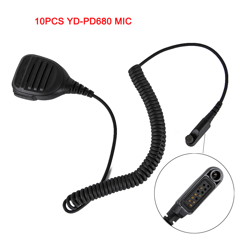 10pcs YD PD680 Mic Two way radio Handheld Shoulder IP54